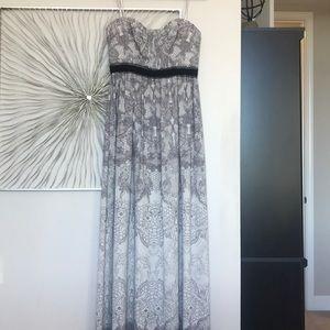 Grey BCBG strapless formal gown